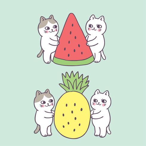 Vettore sveglio del gatto e di frutta di estate del fumetto.