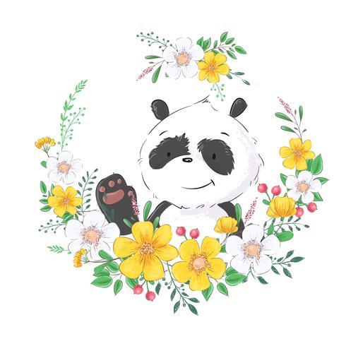 Poster carte postale mignon petit panda dans une gerbe de fleurs. Dessin à main levée. Vecteur