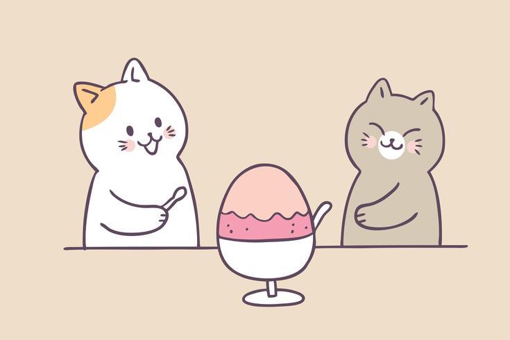 Cartoon schattige zomer katten en ijs vector.