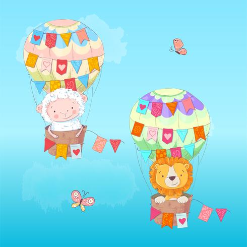 Postcard poster of a cute leon and lamb in a balloon with flags in cartoon style. Hand drawing. vector