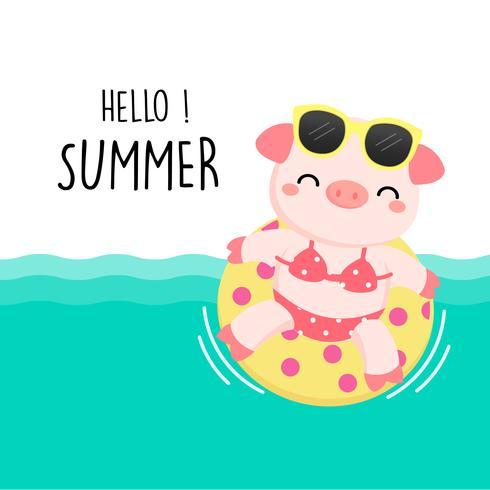 Bienvenue été mignon cochon étaient bande dessinée bikini et anneau de bain.