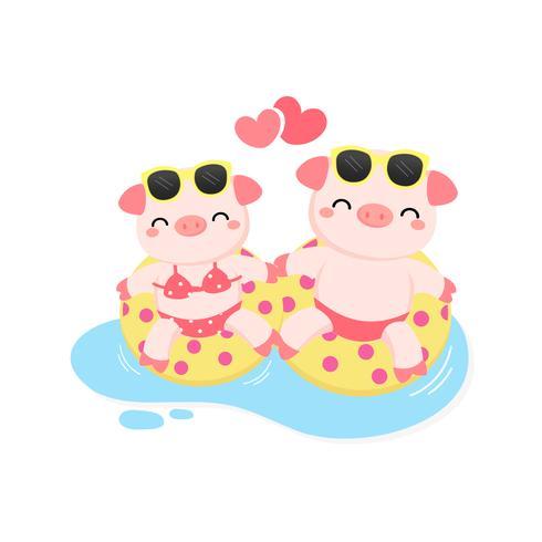 Nettes Paarschwein waren Bikini und Schwimmenringkarikatur-Vektorillustration
