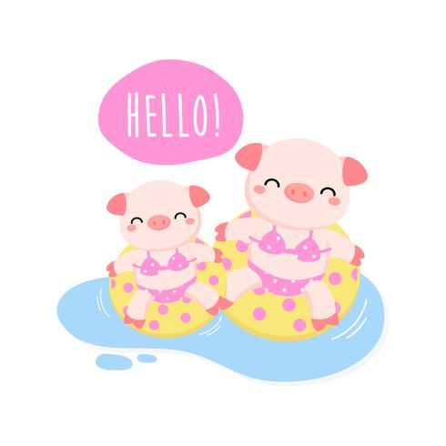 Hallo Sommer süße Schweine waren Bikini und Schwimmring Cartoon.
