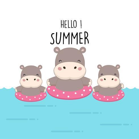 Olá Verão bonito dos desenhos animados do hipopótamo.