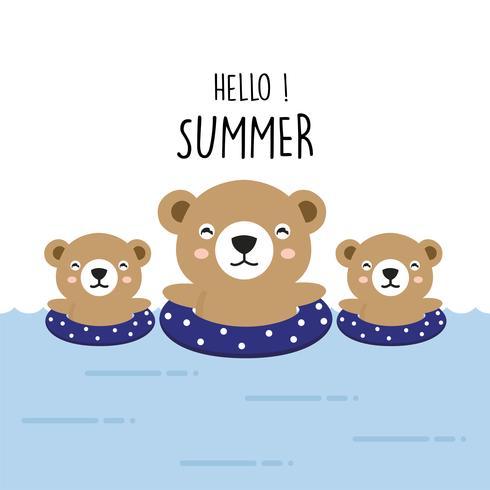Hallo niedlicher Bärn-Cartoon des Sommers. vektor