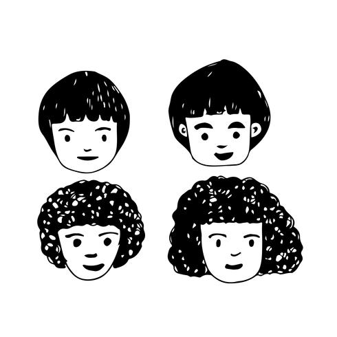 Mensen worden geconfronteerd met cartoon pictogram ontwerp