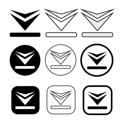 ensemble d'icône de téléchargement de signe simple
