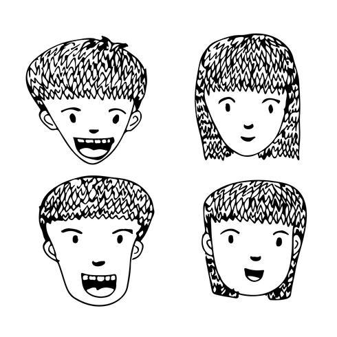 Leute stellen Karikaturikonendesign gegenüber