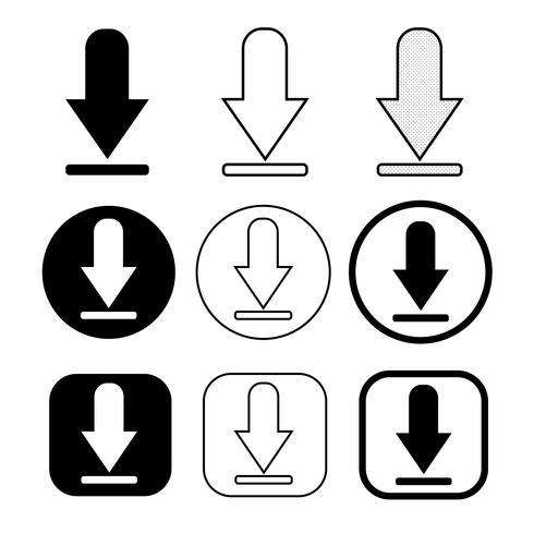 set of simple sign download icon