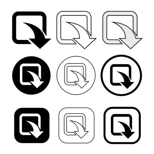 conjunto de ícone de download de sinal simples