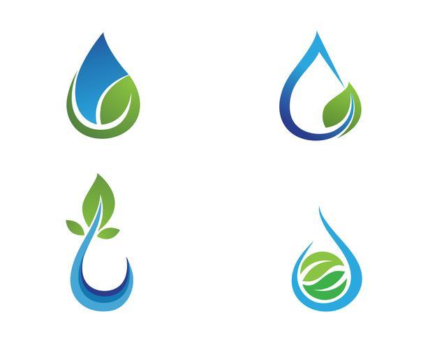 Gota de água e folha logotipo modelo ilustração vetorial