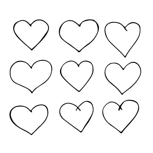 Mão, desenhado, coração, ícone