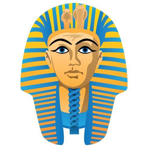 Máscara de enterro egípcio faraó dourado, cores ousadas, ilustração vetorial isolado
