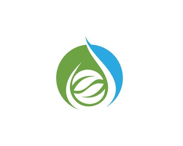 Ilustración de vector de plantilla de logotipo gota y hoja de agua