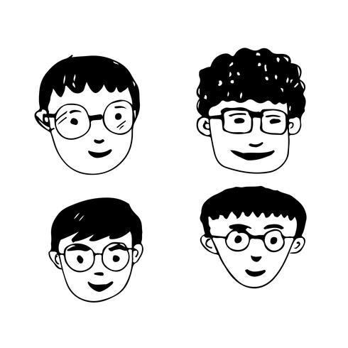 Les gens font face à la conception de l'icône de dessin animé