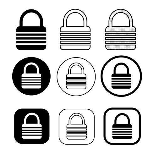 Conjunto de signo simple icono de bloqueo