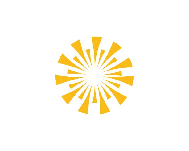 Sun logo y símbolos estrella icono web Vector -