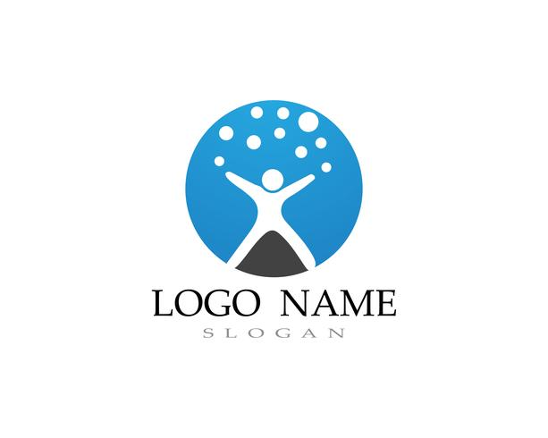 Logotipo de crianças de adoção e vector de saúde símbolo