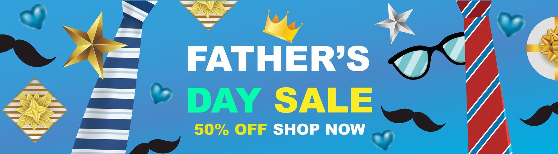 affiche de promotion vente vecteur vente de fête des pères ou une bannière avec promotion de concept de papier cadeau ouvert. illustration - vecteur.