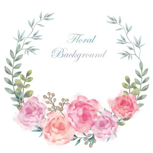 Watercolor flower frame/background with text space isolated on a white background. vector