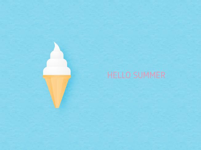 Cono gelato del latte dolce su stile blu del taglio del documento introduttivo.