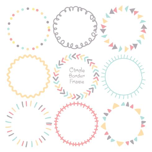 Set med färgglada klotter cirkel ram, dekorativa runda ramar. Vektor illustration.