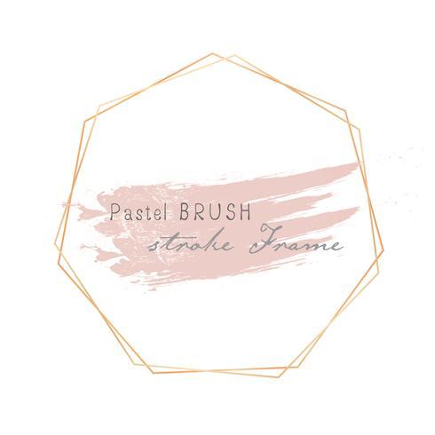 Pastel brush strokes frame. Vector illustration.
