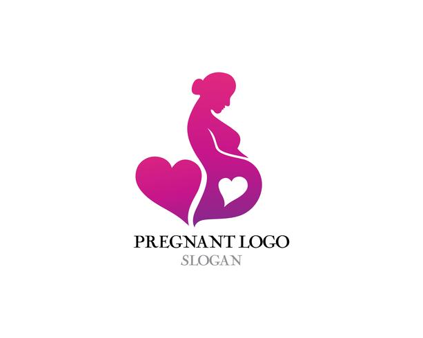 Schwangere Logoschablonenvektor-Ikonenillustration