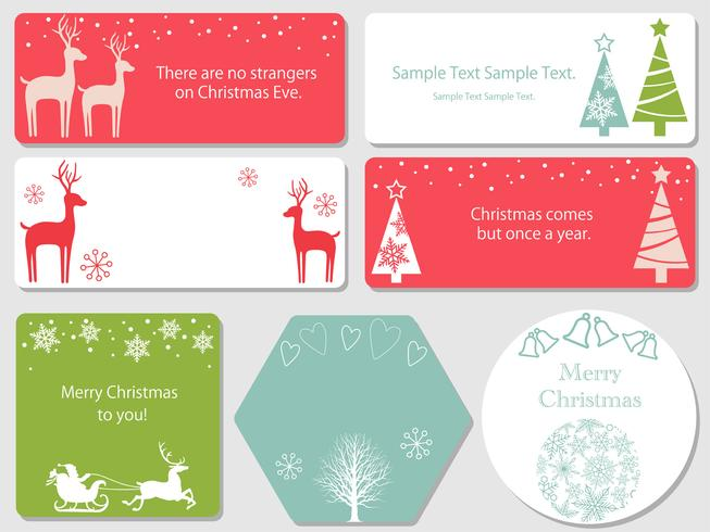 Set of assorted Christmas cards. vector