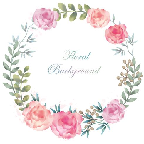 Akvarell rund blomram / bakgrund med textutrymme.