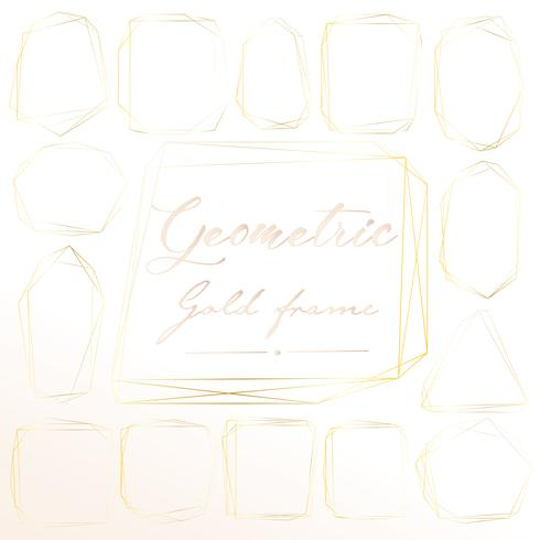Set med geometrisk guldram, Dekorativt element för bröllopskort, Inbjudningar och logotyper. Vektor illustration.