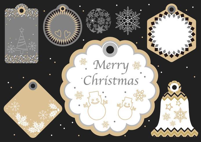 Set van diverse nieuwe jaar en kerst cadeau tags.