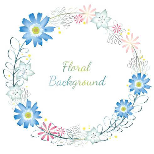 Watercolor flower frame/background with text space. vector