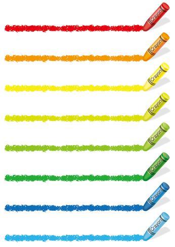 Sats med färgstarka färgpennor designelement isolerade på en vit bakgrund.