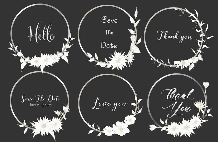 El sistema de marcos redondos de los divisores, flores dibujadas mano, composición botánica, elemento decorativo para la invitación de boda, invitaciones vector el ejemplo.