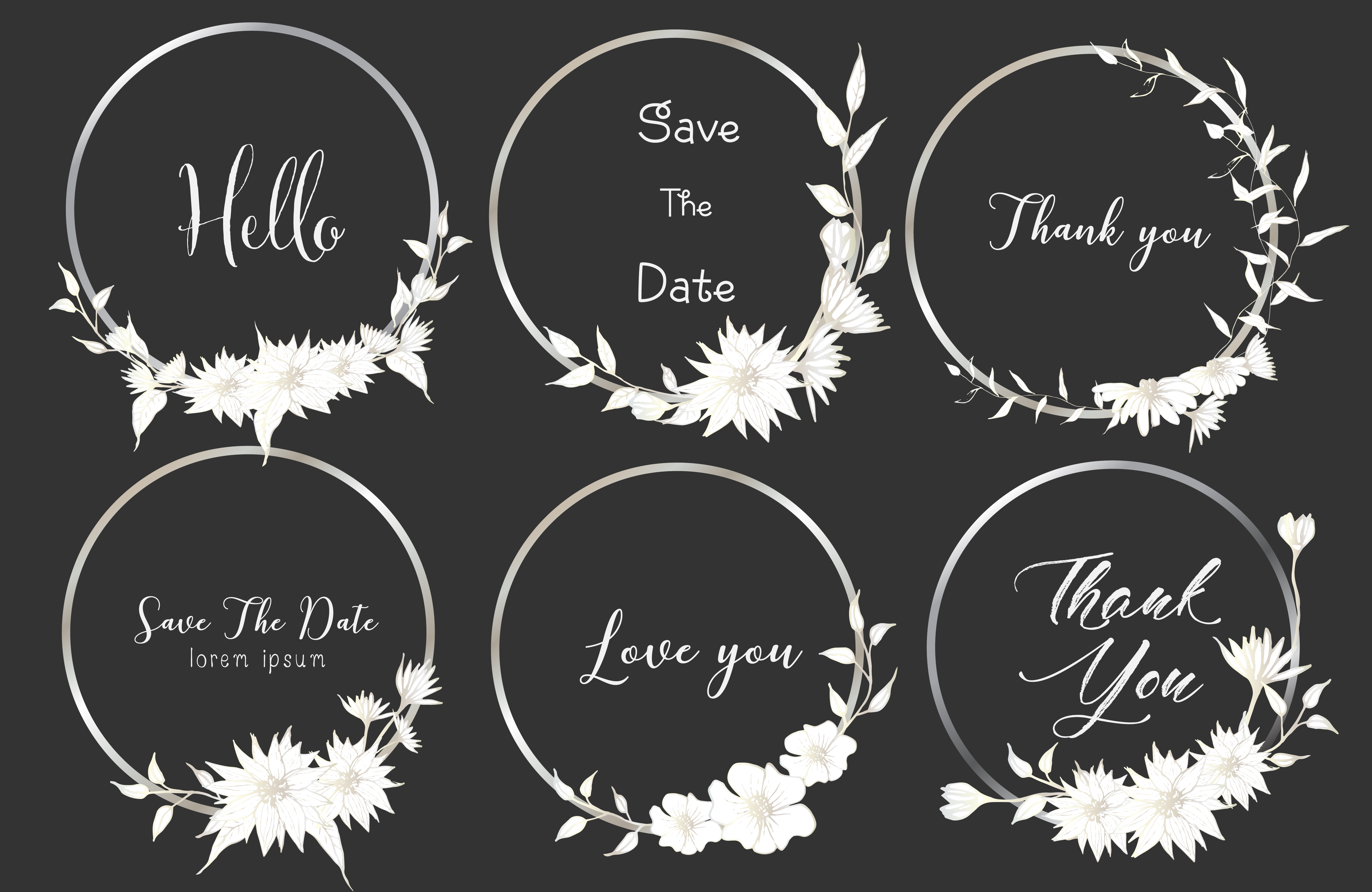 Set Of Dividers Round Frames Hand Drawn Flowers Botanical Composition Decorative Element For Wedding Card Invitations Vector Illustration 563766 Download Free Vectors Clipart Graphics Vector Art