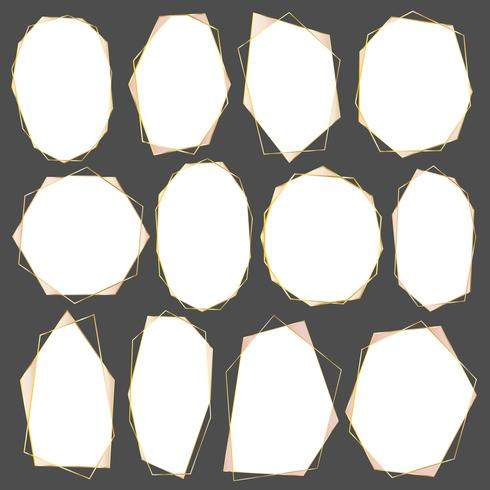 Conjunto de marco dorado geométrico, elemento decorativo para invitación de boda, invitaciones y logo. Ilustracion vectorial