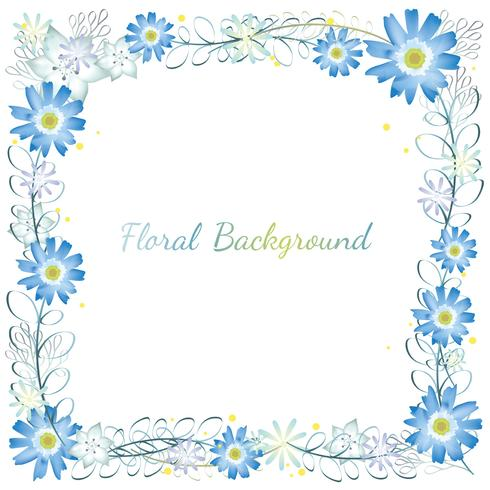 Watercolor square flower frame.