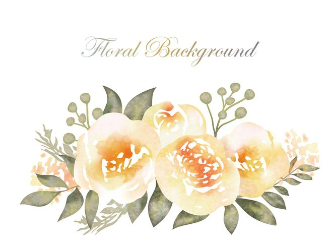 Watercolor flower background with text space.