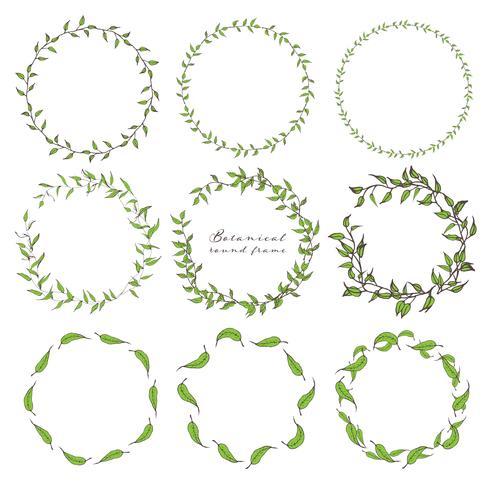 Set med botanisk runda ram, Handdragen blommor, Botanisk komposition, Dekorativt element för inbjudningskort, Vektor illustration.