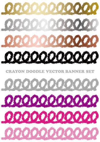Reeks kleurrijke die banners van de kleurpotloodkrabbel op een witte achtergrond wordt geïsoleerd.