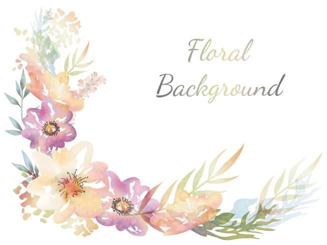Watercolor flower background with text space vector