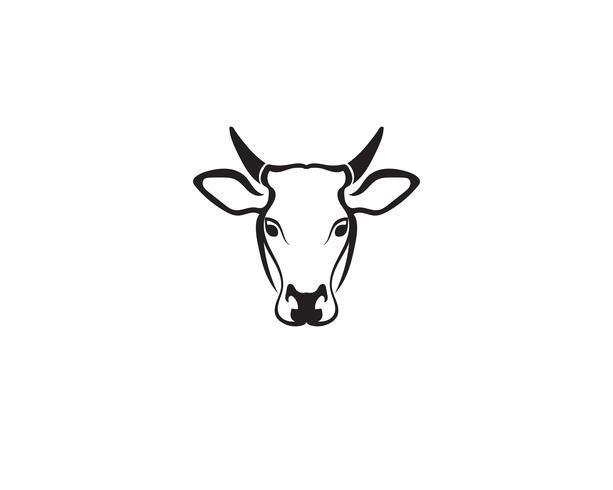 Vector de plantilla de logotipo de cabeza de vaca