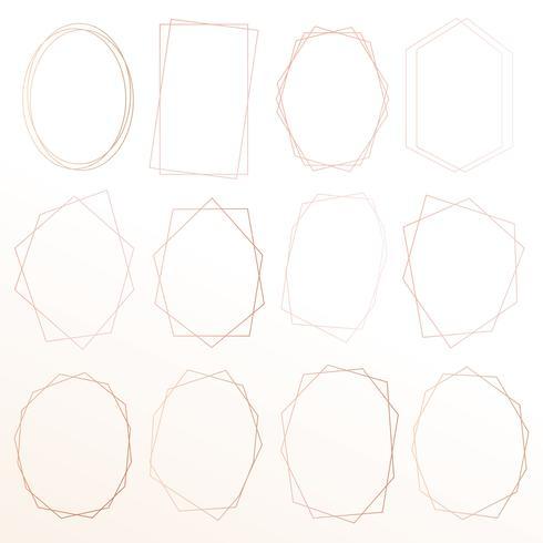 Conjunto de marco de oro rosa geométrico, elemento decorativo para invitación de boda, invitaciones y logo. Ilustracion vectorial