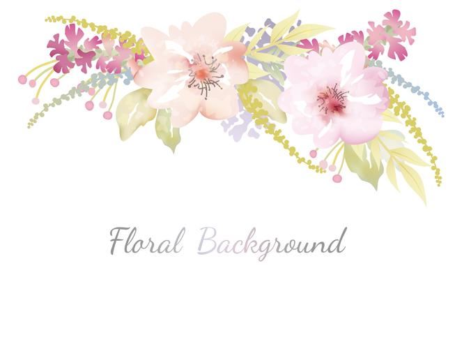 Watercolor floral background with text space. vector