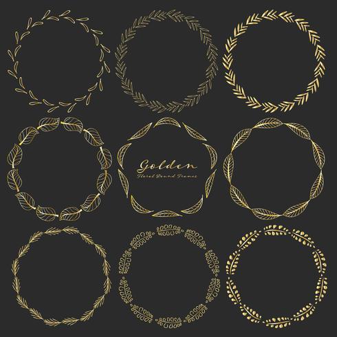 Set of golden floral round frames for decoration, Decorative round frames. Vector illustration.