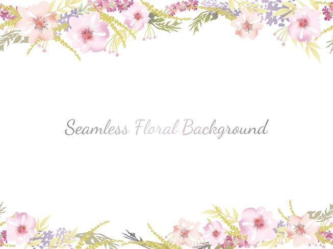 Waterverf naadloze bloemenachtergrond met tekstruimte.