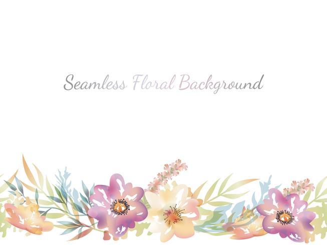 Akvarell sömlös blommig bakgrund med textutrymme.