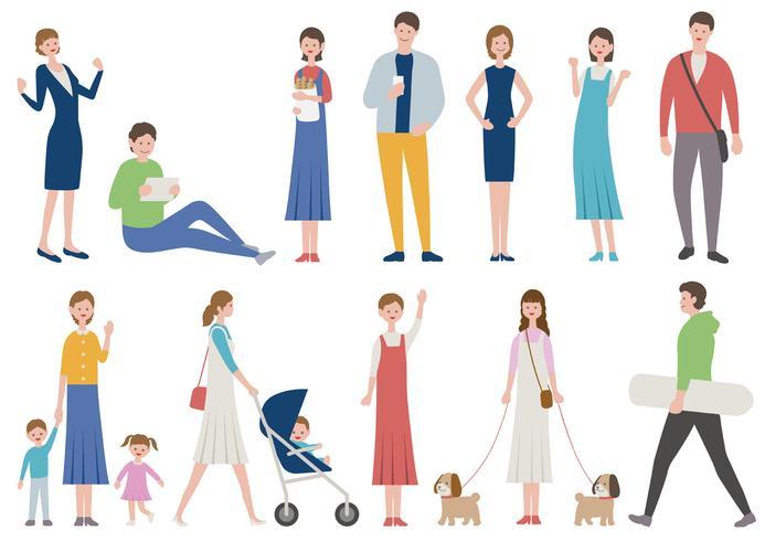 Set van mensen in verschillende levensstijl geïsoleerd op een witte achtergrond.