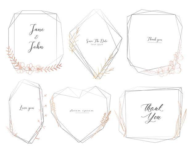 Reeks van geometrisch kader, Hand getrokken bloemen, Botanische samenstelling, Decoratief element voor huwelijkskaart, Uitnodigingen Vectorillustratie.